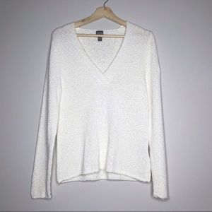 EILEEN FISHER Cotton Blend V-Neck Sweater Large